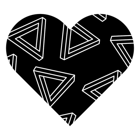 label shape heart different geometric figures vector illustration black background image Reklamní fotografie - 93896754