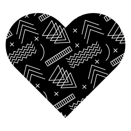 異なる幾何学的な数字を持つラベル形状のハート。ベクトルイラスト黒背景画像。