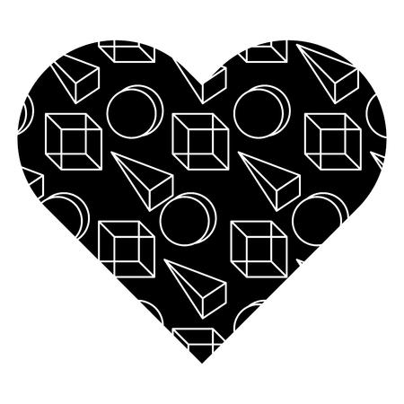 label shape heart different geometric figures vector illustration black background image Ilustrace