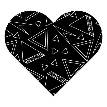 Label shape heart with different geometric figures. Vector illustration black background image. Ilustração
