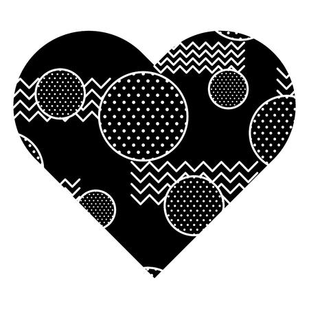 모양이 다른 심장 모양의 심장 레이블. 벡터 일러스트 레이 션 검은 배경 이미지입니다.