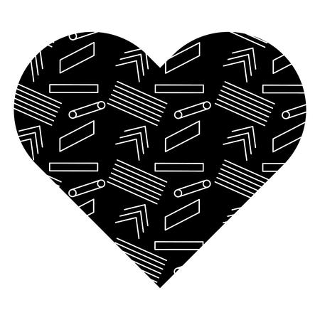 Label shape heart with different geometric figures. Vector illustration black background image. Ilustrace
