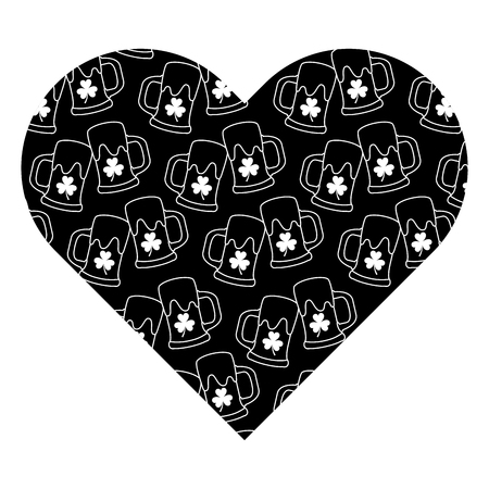 Label shape heart with beer glass and clover. Vector illustration black background image. Illustration