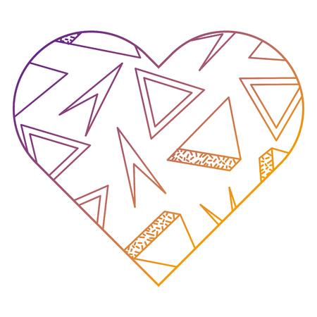 레이블 모양 심장 다른 기하학적 수치 벡터 일러스트 흐림 라인 디자인