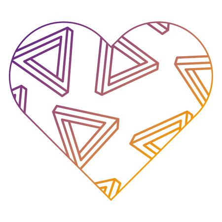 label shape heart different geometric figures vector illustration blur line design