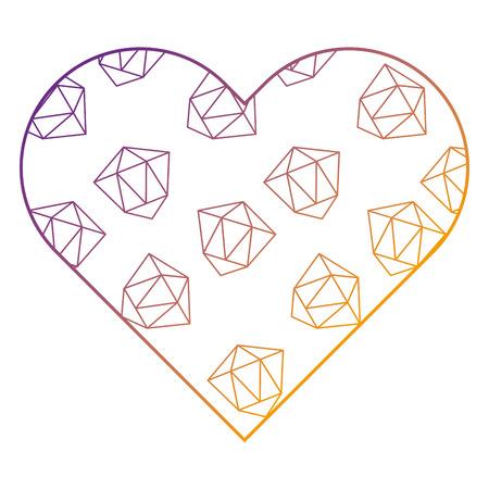 label shape heart different geometric figures vector illustration blur line design