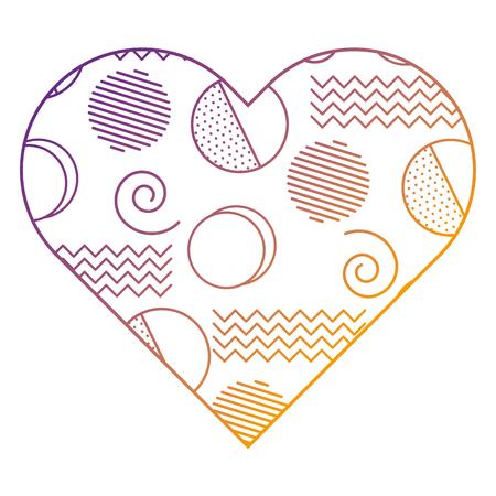 label vorm hart verschillende geometrische figuren vector illustratie vervagen lijn ontwerp