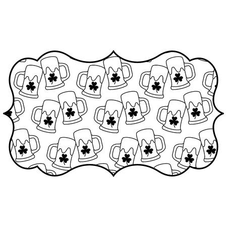 label beer glass and clover decoration pattern vector illustration outline design outline design Illustration