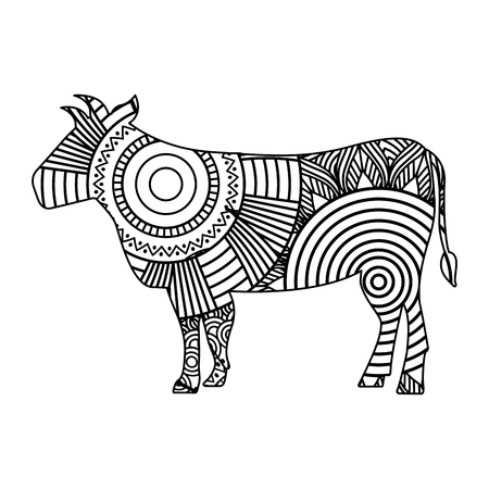 Hand drawn for adult coloring pages with bull sketch vector illustration.