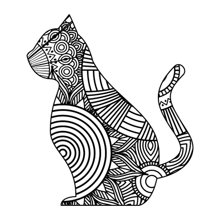 A hand drawn for adult coloring pages with cat sitting zentangle monochrome sketch vector illustration