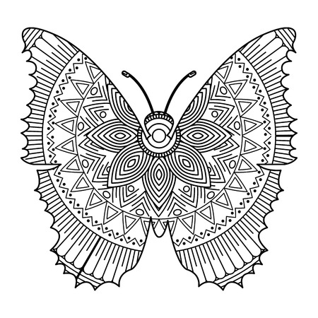 A hand drawn for adult coloring pages with butterfly  sketch vector illustration. Иллюстрация