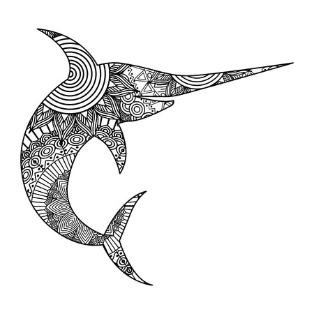 A hand drawn for adult coloring pages with marlin fish sketch vector illustration