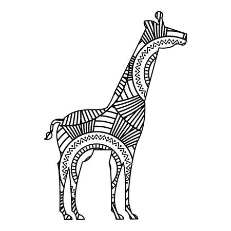 hand getekend voor volwassen kleurplaten met giraf monochrome schets vectorillustratie
