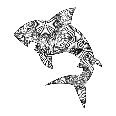 hand drawn for adult coloring pages with shark monochrome sketch vector illustration