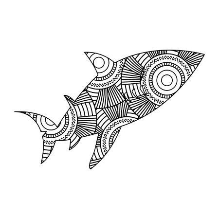 Hand drawn for adult coloring pages with fish sketch vector illustration.