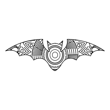Hand drawn for adult coloring pages with bat sketch vector illustration.
