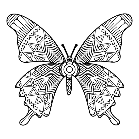 hand drawn for adult coloring pages with butterfly monochrome sketch vector illustration
