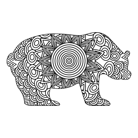 hand drawn for adult coloring pages with bear monochrome sketch vector illustration
