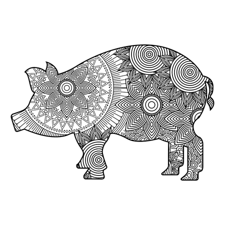 hand drawn for adult coloring pages with pig monochrome sketch vector illustration Illustration