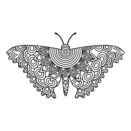 Hand drawn for adult coloring pages with butterfly sketch vector illustration.