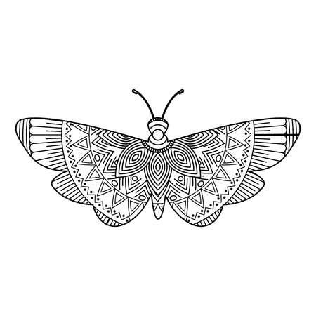 hand drawn for adult coloring pages with moth bug monochrome sketch vector illustration Zdjęcie Seryjne - 93874274