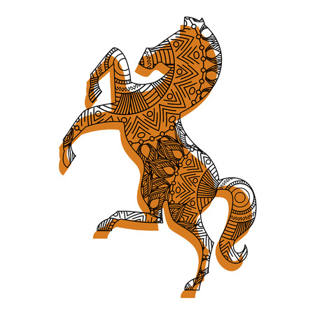 hand drawn for adult coloring pages with horse vector illustration