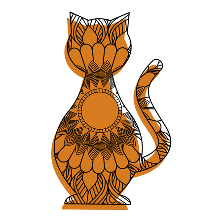 hand drawn for adult coloring pages with cat vector illustration