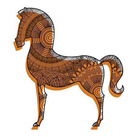 mão desenhada para páginas para colorir de adultos com cavalo Ilustración de vector
