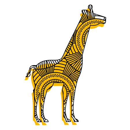hand drawn for adult coloring pages with giraffe vector illustration