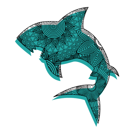 hand drawn for adult coloring pages with shark vector illustration