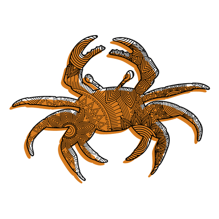 hand drawn for adult coloring pages with crab vector illustration Illustration