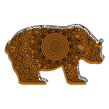 hand drawn for adult coloring pages with bear vector illustration