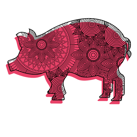 hand drawn for adult coloring pages with pig  vector illustration