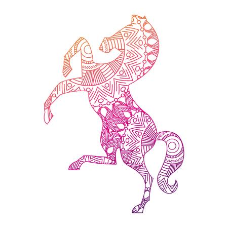 mão desenhada para páginas para colorir de adulto com cavalo zentangle ilustração vetorial linha de gradiente para ... Ilustración de vector