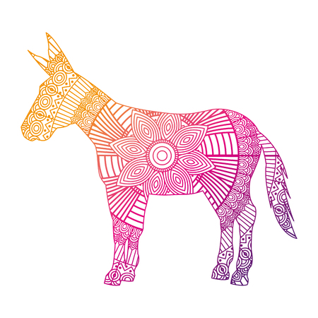 hand drawn for adult coloring pages with donkey vector illustration color line gradient design Illustration
