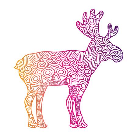 Hand gezeichnet für erwachsene Farbtonseiten mit Elchvektorillustrations-Farblinie-Steigungsdesign Standard-Bild - 93874293
