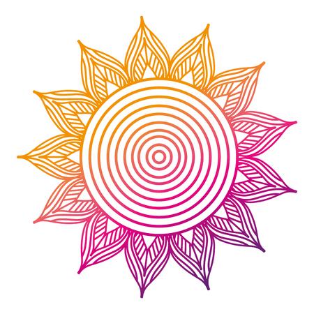 大人の着色ページベクトルイラストカラーライングラデーションデザインのための花のマンダラ丸装飾