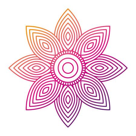 성인 만년필 벡터 일러스트 레이 션에 대 한 꽃 만다라 라운드 장식 컬러 라인 그라디언트 디자인