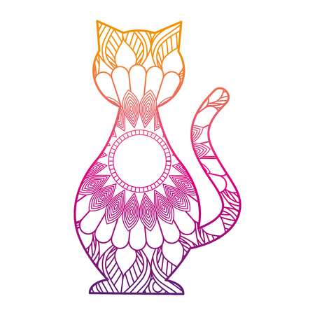 hand drawn for adult coloring pages with cat vector illustration color line gradient design