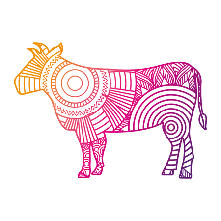 hand drawn for adult coloring pages with bull vector illustration color line gradient design