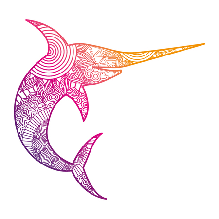 hand drawn for adult coloring pages with marlin fish vector illustration color line gradient design Illustration