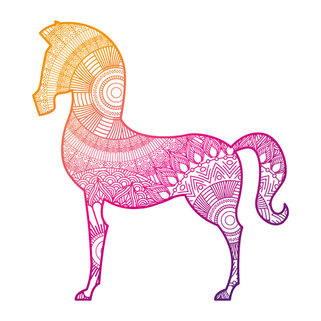 hand drawn for adult coloring pages with horse  vector illustration color line gradient design