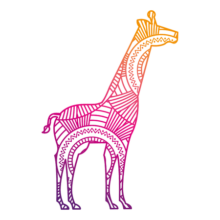 hand drawn for adult coloring pages with giraffe vector illustration color line gradient design Illustration