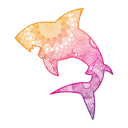 hand drawn for adult coloring pages with shark   vector illustration color line gradient design