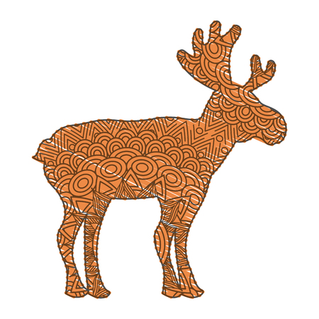 hand drawn for adult coloring pages with moose   vector illustration Çizim