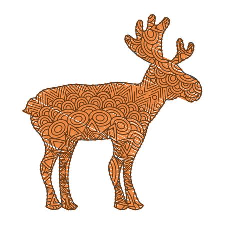 hand getekend voor volwassen kleurplaten met eland vectorillustratie