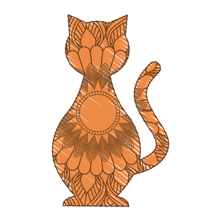 hand drawn for adult coloring pages with cat feline zentangle  vector illustration