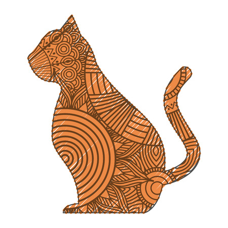 hand drawn for adult coloring pages with cat sitting vector illustration