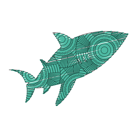 hand drawn for adult coloring pages with fish Illustration