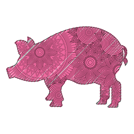 hand drawn for adult coloring pages with pig vector illustration Ilustrace